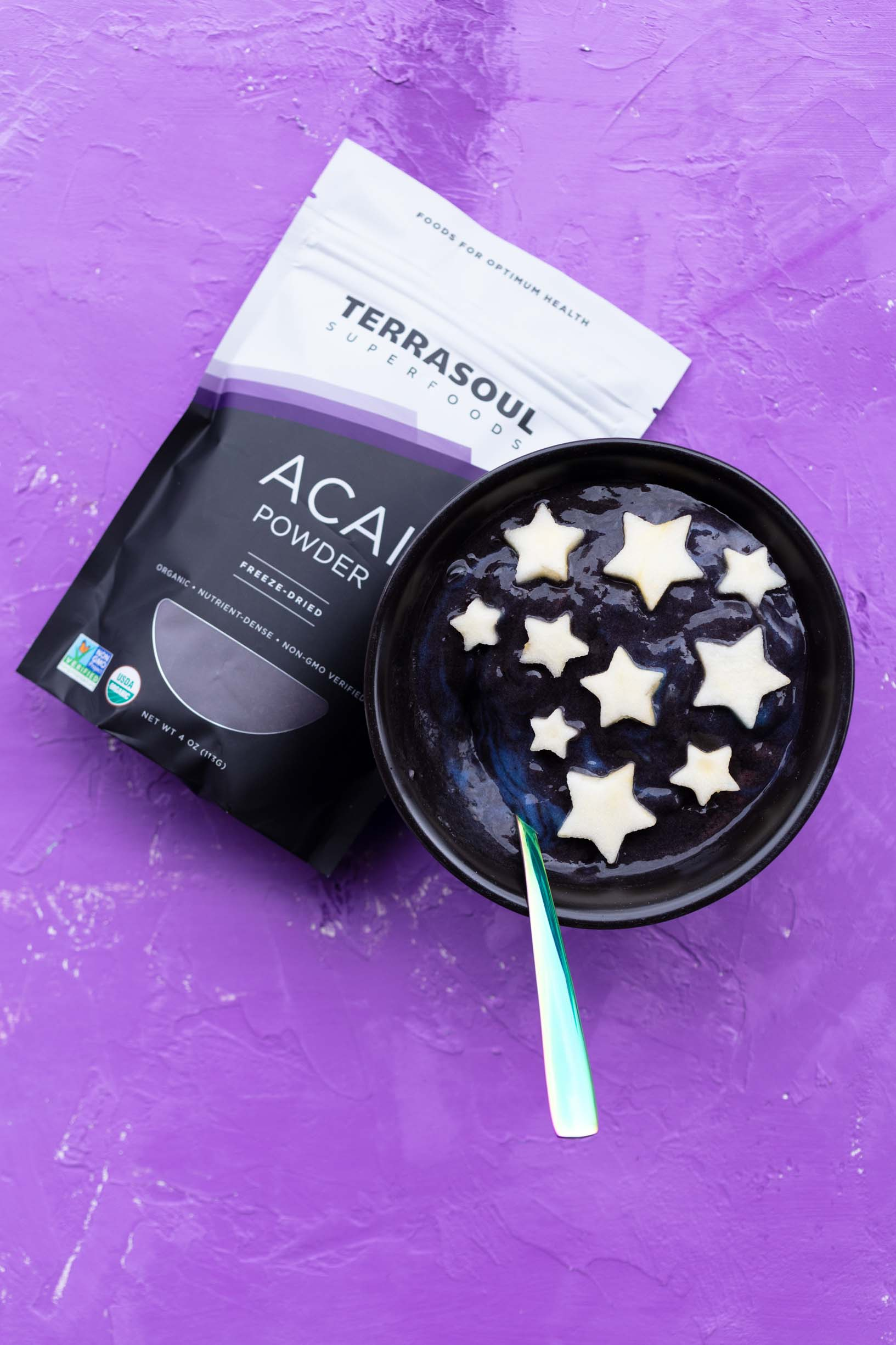 galaxy smoothie bowl next to a package of terrasoul acai