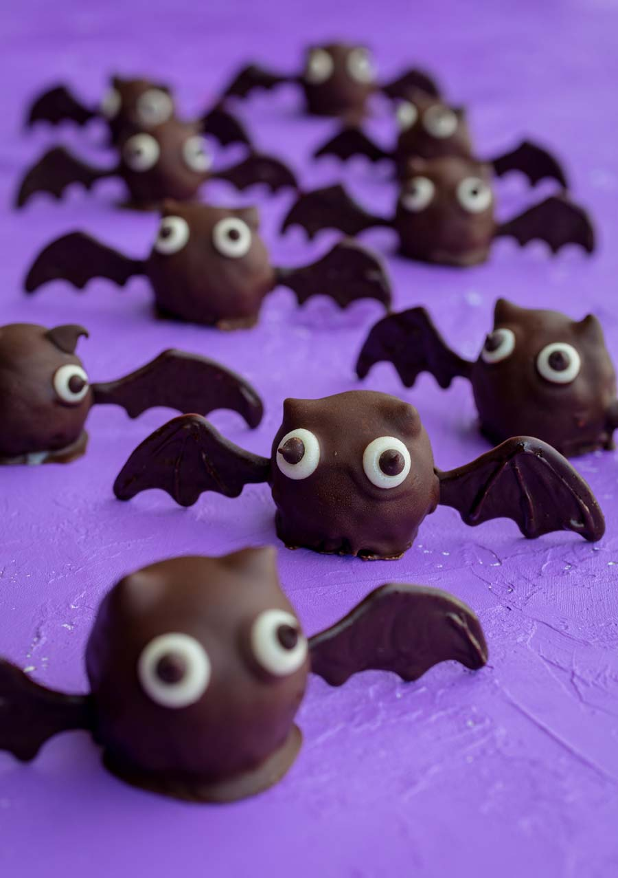Vegan bat-shaped truffles