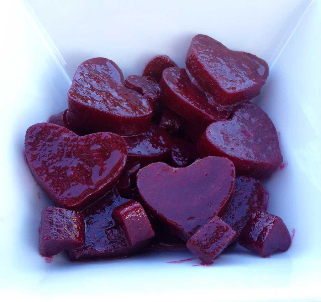 heart-shaped beet salad
