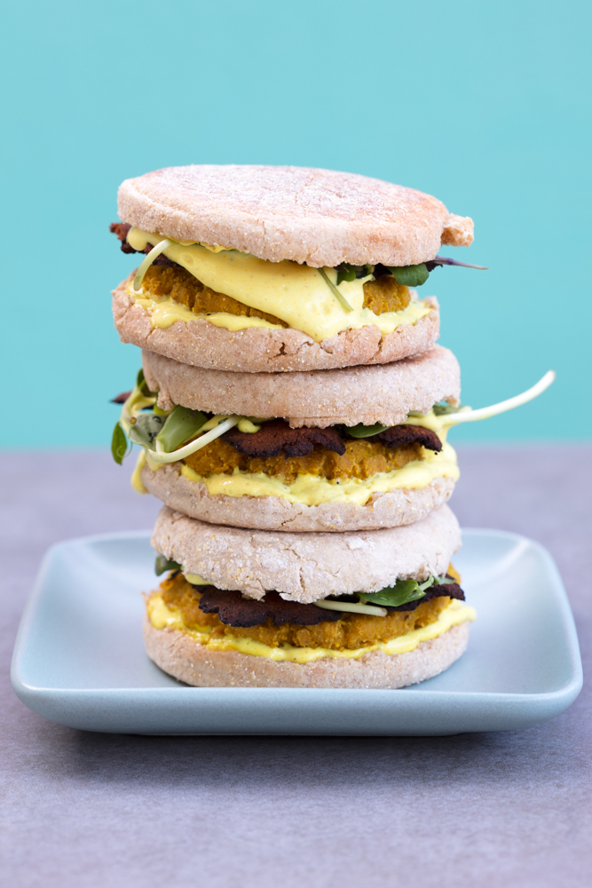 stack of breakfast sandwiches