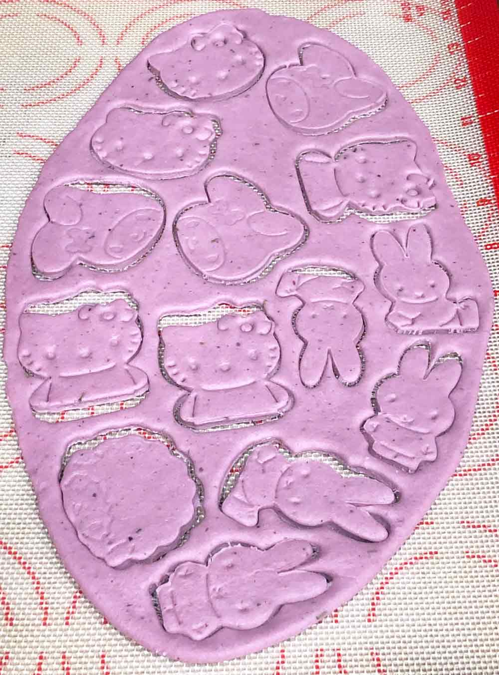 using leftover dough to make hello kitty crackers