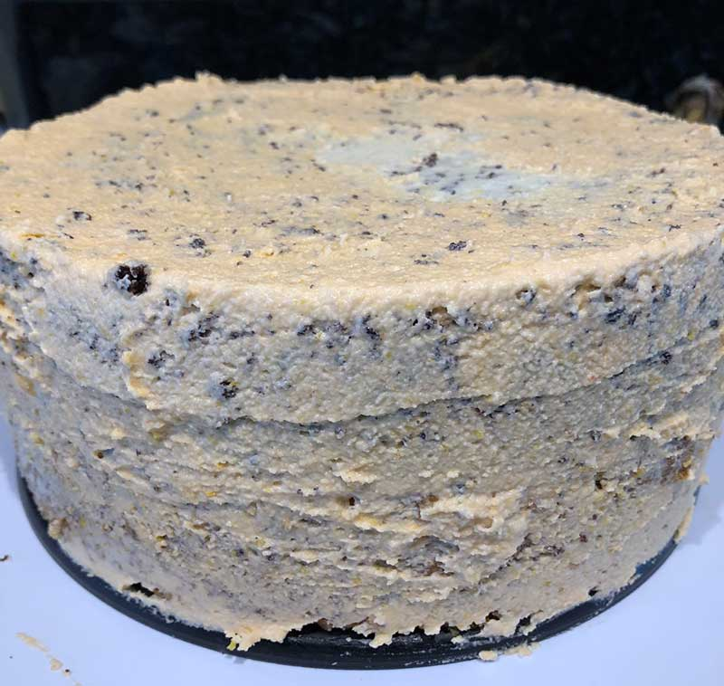 vegan chocolate orange cake crumb layer of frosting