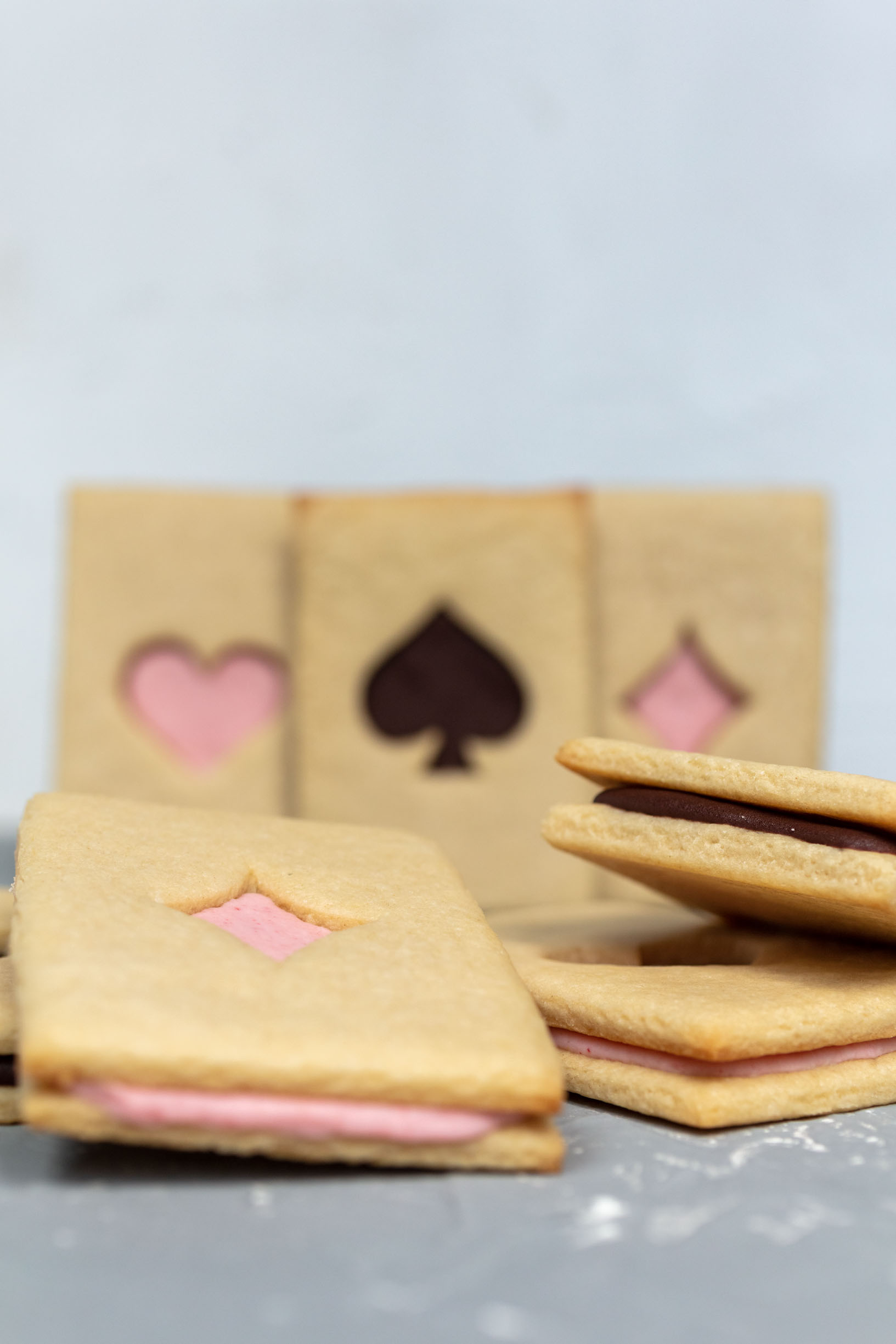 vegan cookie sandwiches that look like playing cards