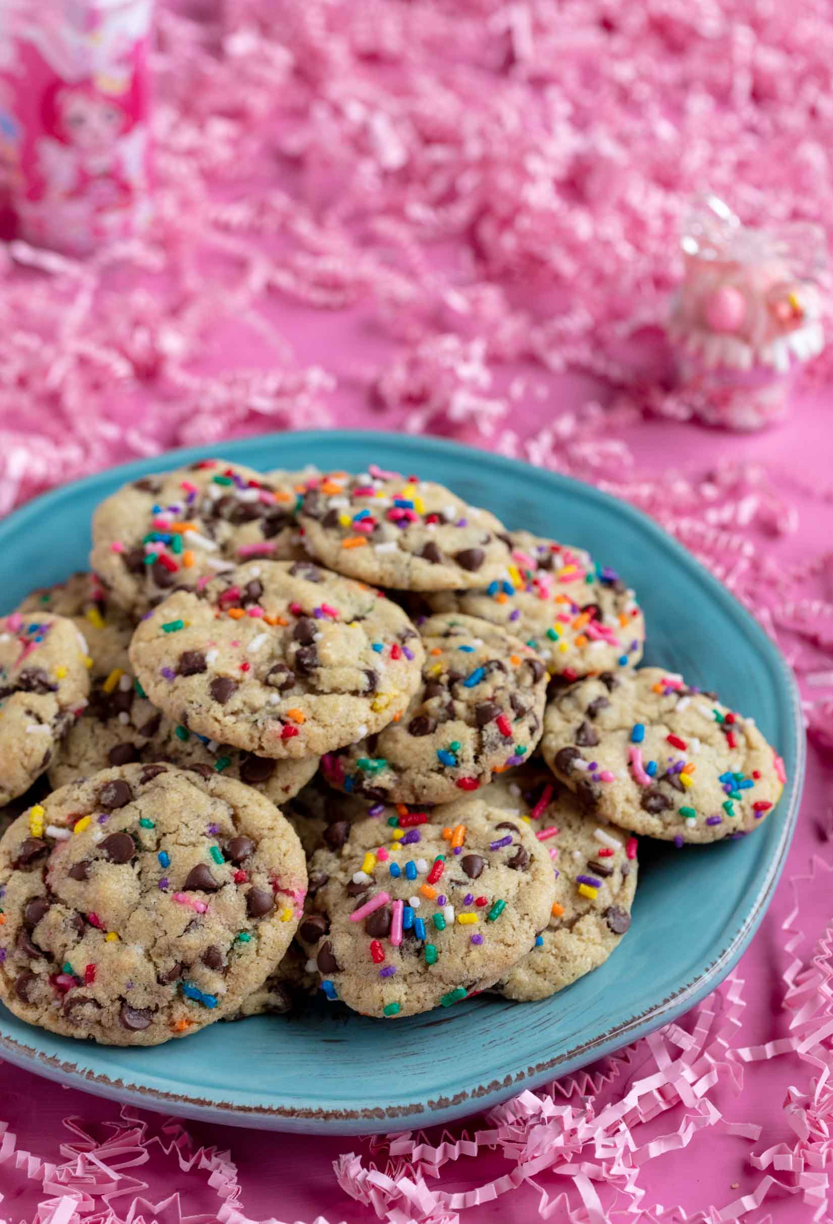 plate of vegan chocolate chip cookies with sprinkles