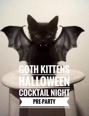 goth kittens halloween party invitation