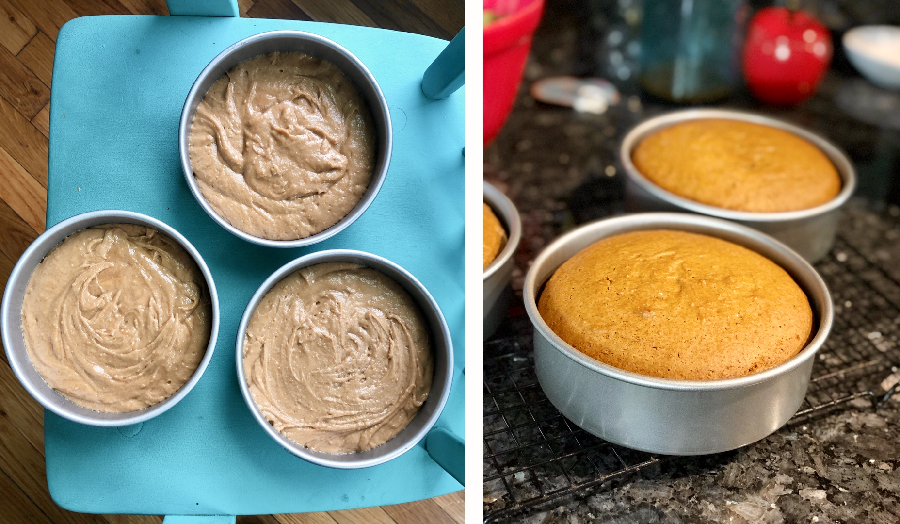 vegan loquat cake before and after baking