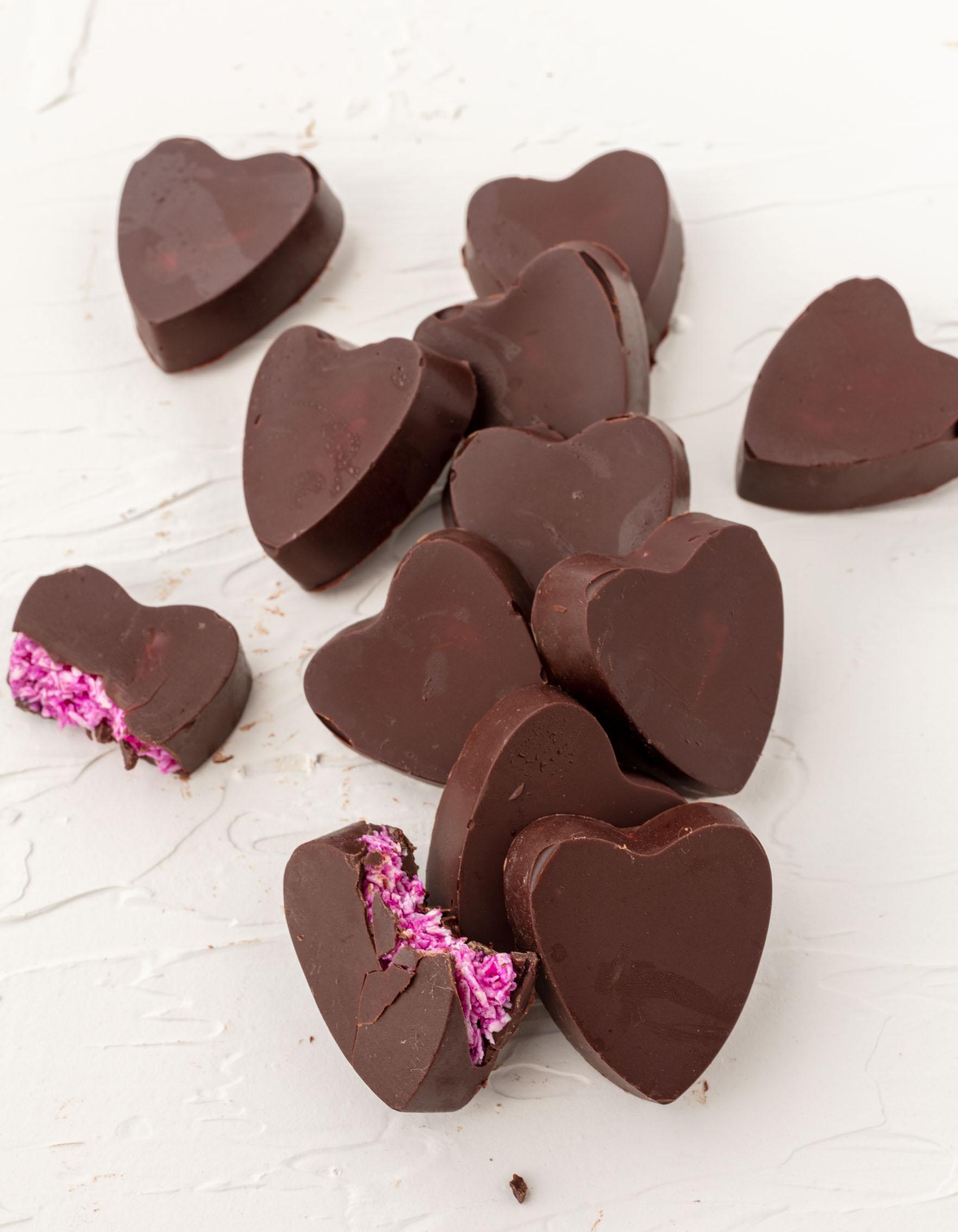 vegan heart-shaped mounds candy