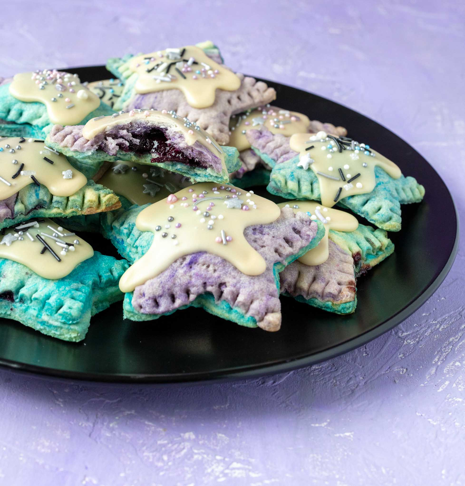 vegan teal and purple poptarts