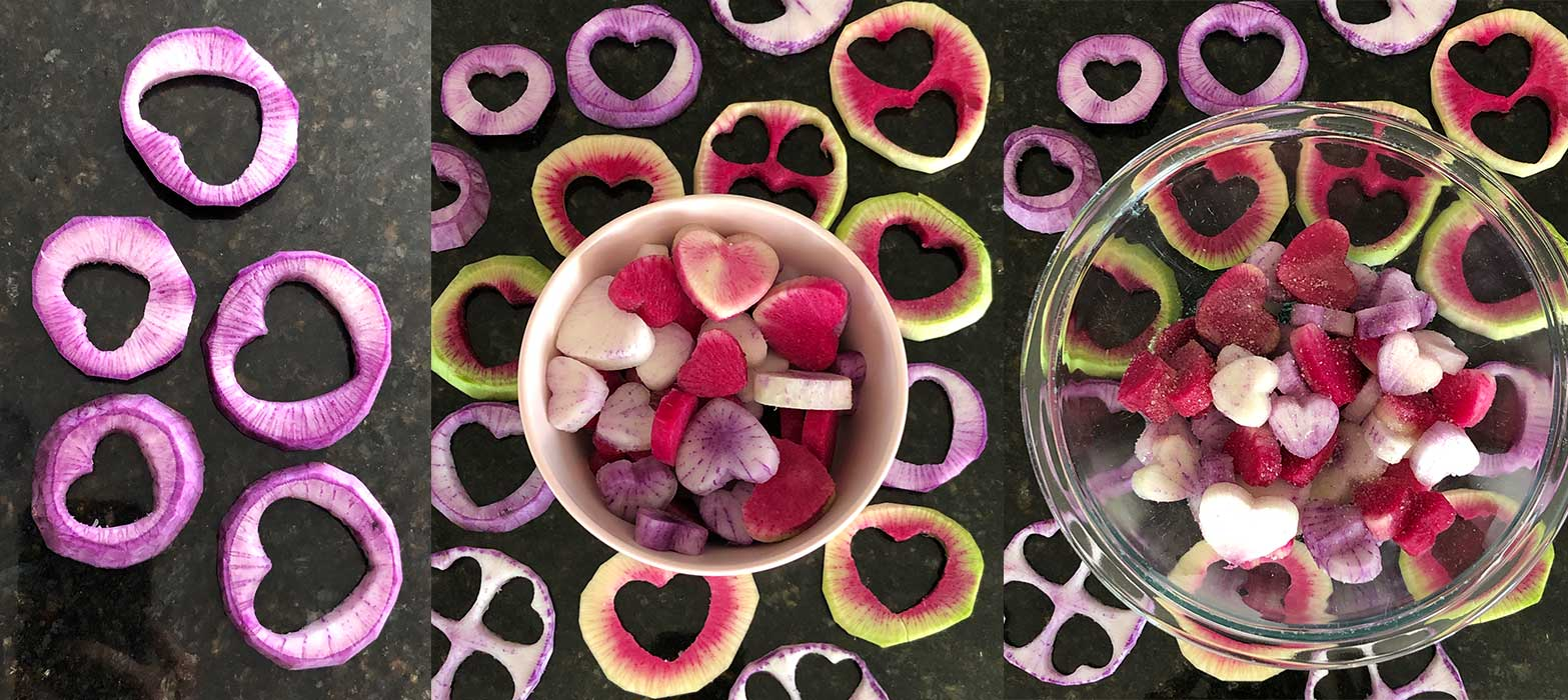 cutting out the radish hearts and seasoning them