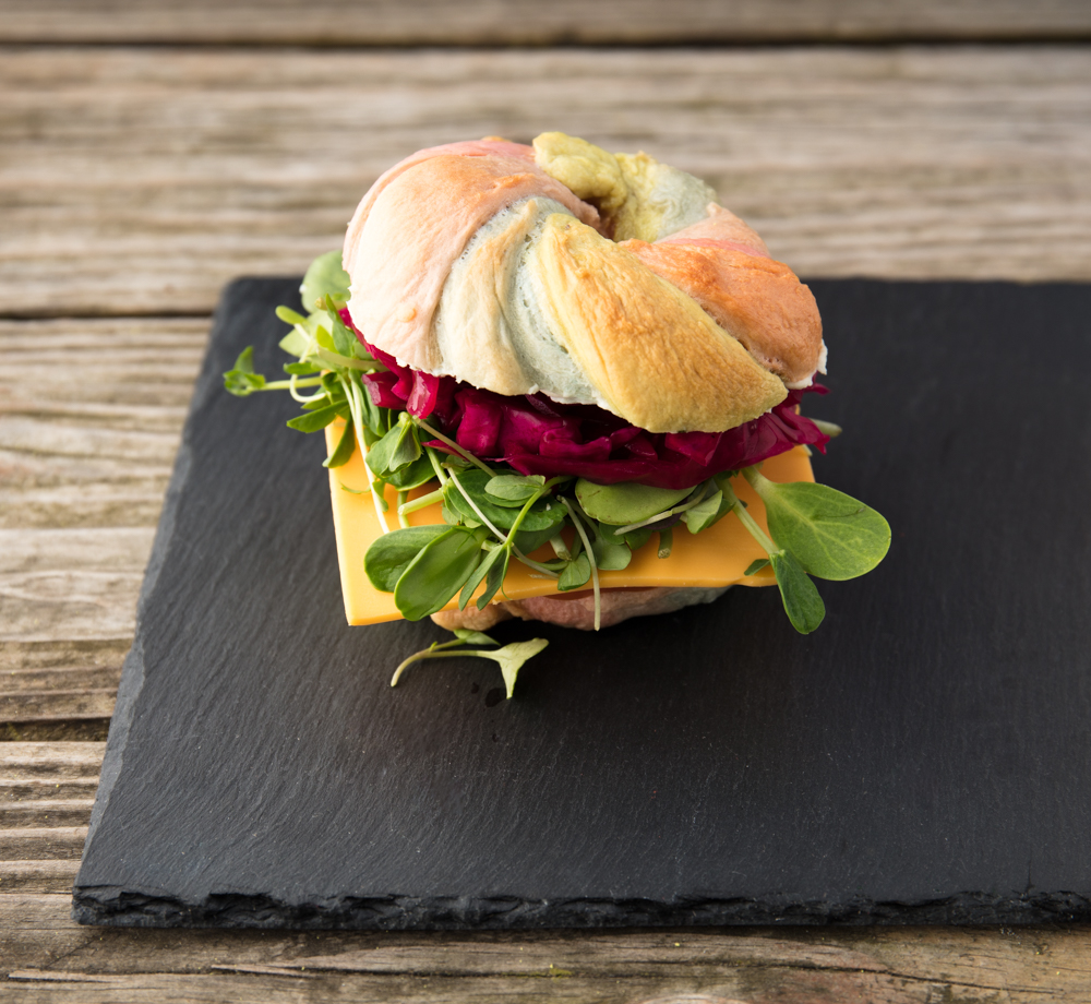 Vegan Rainbow Bagels