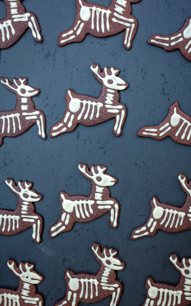 vegan reindeer skeleton cookies