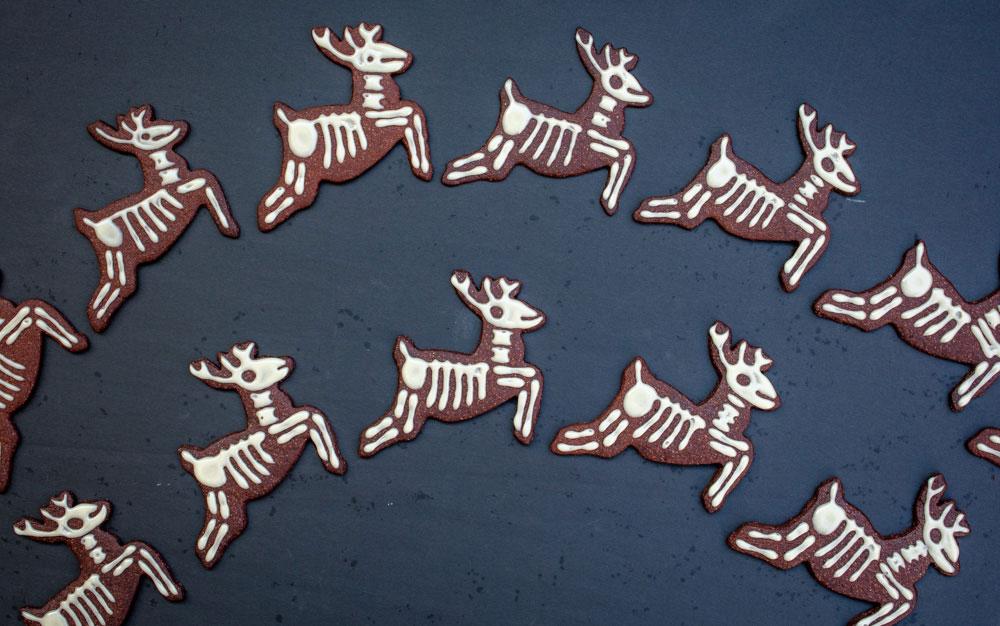 vegan skeleton reindeer cookies