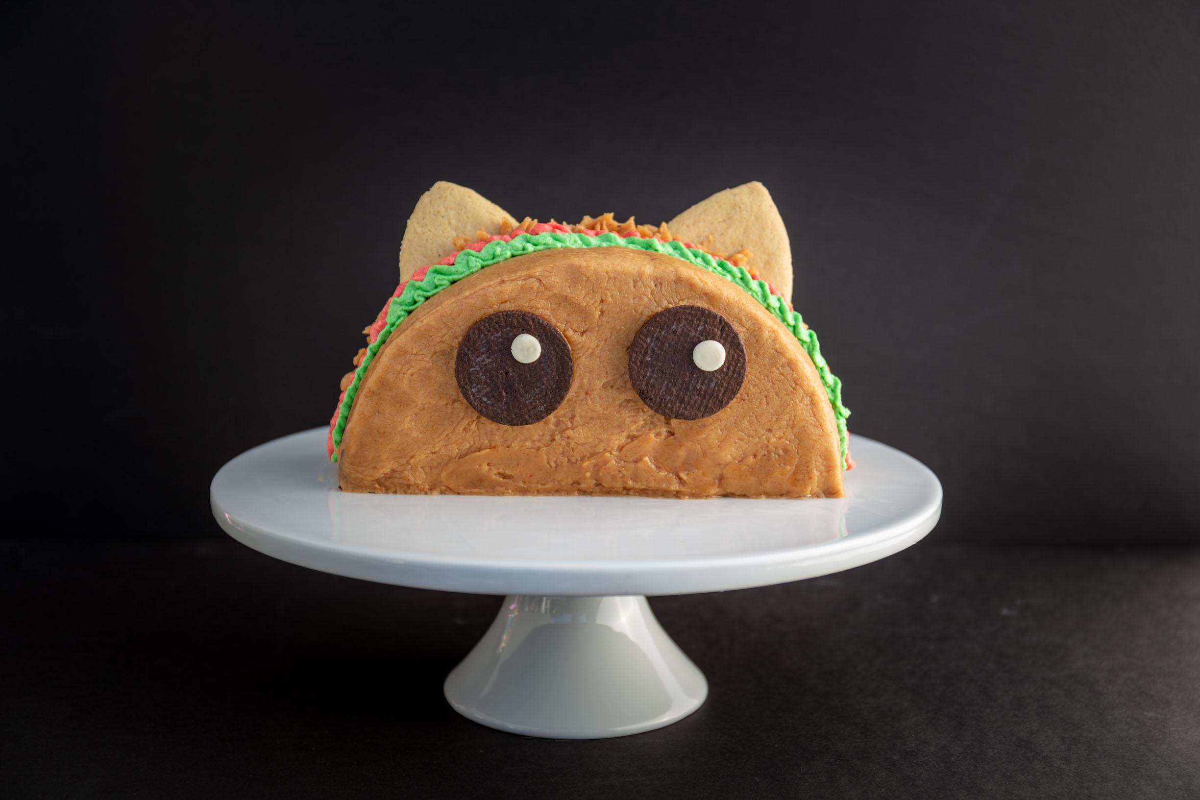 vegan chocolate peanut butter tacocat cake
